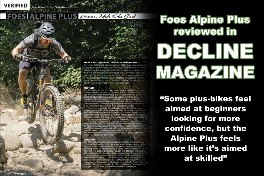 Foes Alpine Plus in Decline Magazine